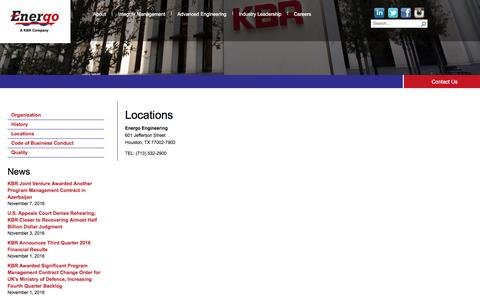 Screenshot of Locations Page energoeng.com - Locations - captured Nov. 8, 2016