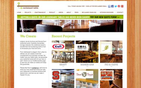 Screenshot of Products Page reclaimedtable.com - Reclaimed Table: Tables and Paneling from Reclaimed Wood - captured Oct. 1, 2014