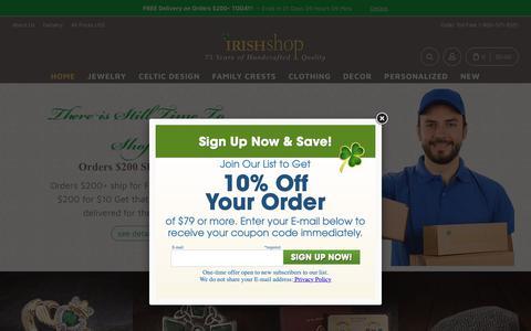 Screenshot of Home Page irishshop.com - Irish Jewelry & Gifts - Online Irish & Celtic Shopping - captured Dec. 12, 2018