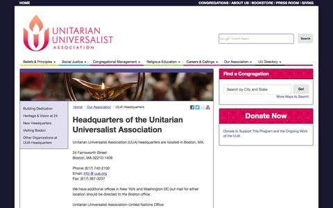 Screenshot of Hours Page uua.org - Headquarters of the Unitarian Universalist Association - UUA - captured Sept. 19, 2014