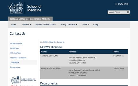 Screenshot of Contact Page case.edu - Contact Us - National Center for Regenerative Medicine - Case Western Reserve University - captured May 22, 2016
