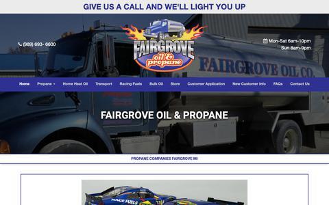 Screenshot of Home Page fairgroveoil.com - Fairgrove Oil & Propane | Propane Companies Fairgrove MI - captured Oct. 10, 2018