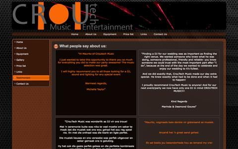 Screenshot of Testimonials Page croutechmusic.co.za - What people say about us: - captured Sept. 30, 2014