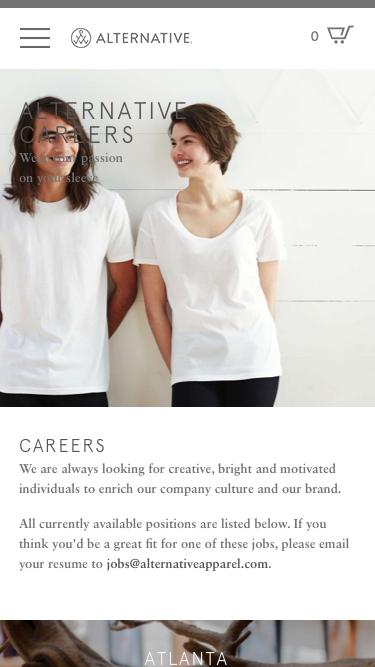 Screenshot of Jobs Page  alternativeapparel.com - Careers | Alternative