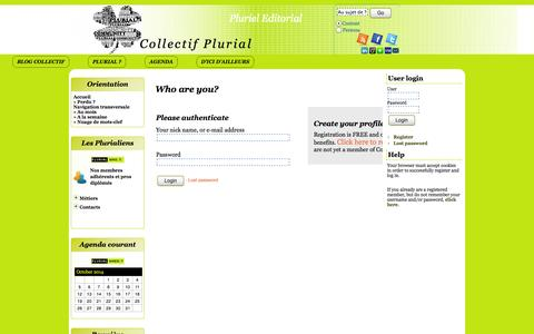 Screenshot of Login Page plurial.pro - Who are you? - Collectif Plurial - captured Oct. 8, 2014