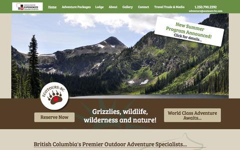 Screenshot of Home Page ecotours-bc.com - Ecotours BC - Home - captured Sept. 29, 2014