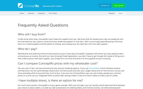 Screenshot of FAQ Page conceptrx.com - FAQ - ConceptRx: Purchase Generic Drugs, Compare Prices, Save - captured Dec. 10, 2015