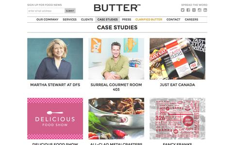 Screenshot of Case Studies Page butterpr.ca - Case Studies - Butter PR Inc. - captured Oct. 5, 2014