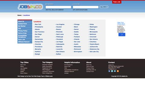 Screenshot of Locations Page jobsin.co - Search Jobs Anywhere. Find Employment. Look for Work. New Career | Jobsin.Co - captured Oct. 6, 2014