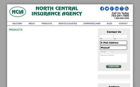 Screenshot of Products Page northcentralinsurance.com - PRODUCTS | North Central Insurance Agency - captured Oct. 7, 2014