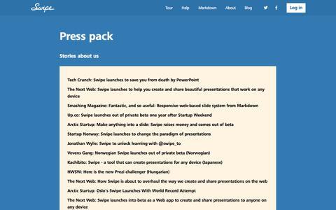 Screenshot of Press Page swipe.to - Press pack - Swipe - captured Oct. 30, 2014