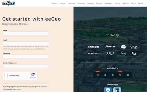 Screenshot of Signup Page eegeo.com - Register - eeGeo - captured Dec. 27, 2016