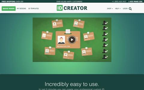 Screenshot of Home Page idcreator.com - IDCreator.com   Custom Photo ID Cards and Badges   Free ID Badge Maker - captured May 16, 2017