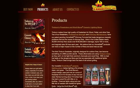Screenshot of Products Page timburn.com - Our Products : BBQ Lighter : Charcoal Lighter : Camping Fire Starters : Chimney Maintenance : Creosote Removal : Where to Get Lighter Fluid Substitute : Timburn.com - captured Oct. 1, 2014