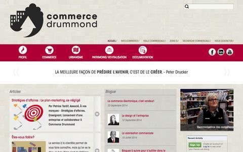 Screenshot of Home Page commerce-drummond.com - Commerce Drummond | Les informations commerciales, urbanistiques et patrimoniales de Drummondville ! - captured Sept. 30, 2014