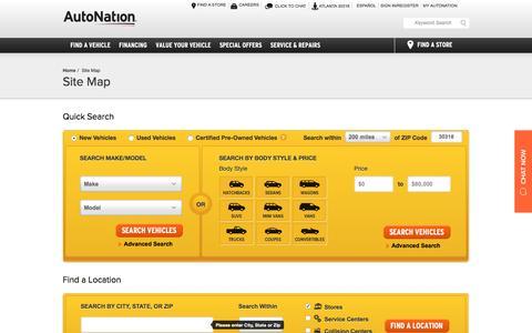 Screenshot of Site Map Page autonation.com - Sitemap | AutoNation | America's Largest Auto Retailer - captured Oct. 24, 2016