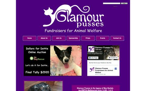 Screenshot of Home Page glamourpusses.com.au - Home - captured Sept. 28, 2018