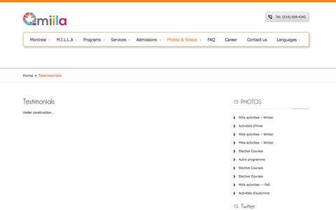 Screenshot of Testimonials Page miila.ca - Testimonials   miila.ca - captured Oct. 1, 2014