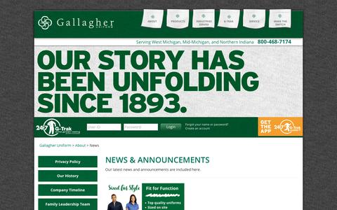 Screenshot of Press Page gallagheruniform.com - Recent news and announcements from Gallagher Uniform - captured July 15, 2018