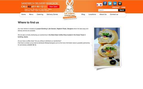 Screenshot of Locations Page lelapinbangkok.com - Le Lapin Bangkok - Le Lapin sandwich & food delivery Bangkok - captured Oct. 2, 2014