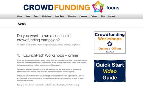 Screenshot of About Page crowdfundingfocus.com - About Crowdfunding Focus — CrowdFunding Focus - captured July 18, 2016