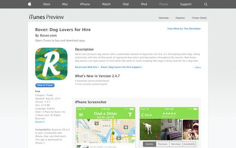 Screenshot of iOS App Page apple.com - Rover: Dog Lovers for Hire on the App Store on iTunes - captured Oct. 22, 2014