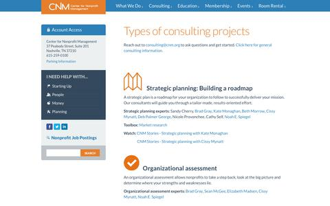 Screenshot of Services Page cnm.org - Nonprofit Consulting | CNM | Nashville, TN - captured Sept. 27, 2018