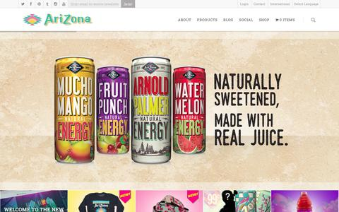 Screenshot of Home Page drinkarizona.com - AriZona Beverages - AriZona Beverages | America's No. 1 Selling Iced Tea Brand - captured Jan. 16, 2016