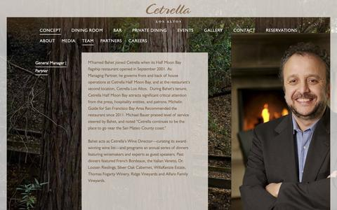 Screenshot of Team Page cetrella.com - Cetrella Los Altos | Mediterranean-Rim and California Coastal Cuisine | General Manager | Partner - captured Sept. 27, 2018