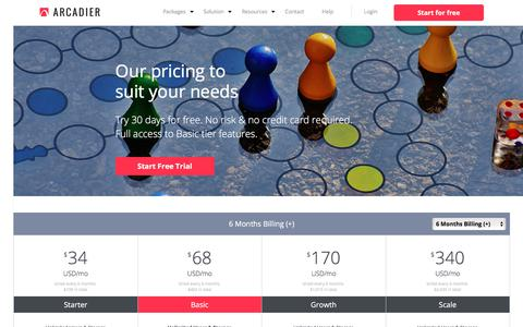 Screenshot of Pricing Page arcadier.com - E-Commerce Marketplace Software Solution Packages | Arcadier - captured July 30, 2018