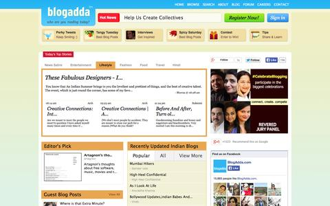 Screenshot of Home Page blogadda.com - Best Indian Blogs Directory - Popular Indian Bloggers at BlogAdda - captured Sept. 18, 2014