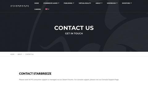 Screenshot of Contact Page starbreeze.com - Contact Us - Starbreeze - captured Sept. 24, 2018