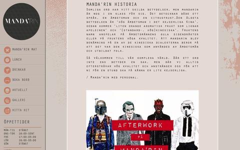 Screenshot of Home Page manda-rin.se - Start | Manda'rin - captured Sept. 30, 2014