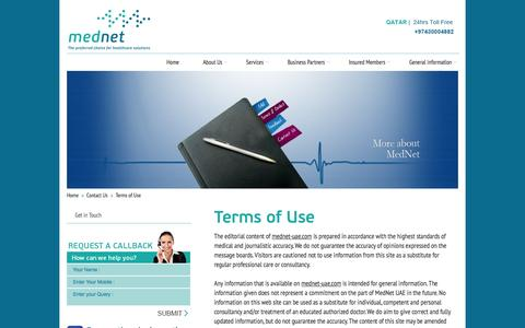 Screenshot of Terms Page mednet-uae.com - MedNet   UAE   Terms of Use - captured Oct. 27, 2014