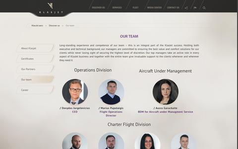 Screenshot of Team Page klasjet.aero - Our team - Private Jet Charter Flights | Rent a Private Jet | Private Jet Hire - KlasJet.aero - captured Sept. 20, 2018