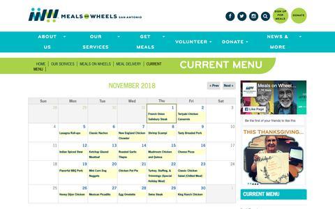 Screenshot of Menu Page mowsatx.org - Current menu   Meals on Wheels San Antonio - captured Nov. 2, 2018
