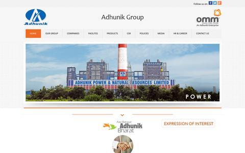 Screenshot of Home Page adhunikgroup.com - Adhunik Group of Industries - captured Jan. 21, 2016