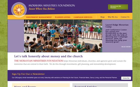 Screenshot of Home Page mmfa.info - Moravian Ministries Foundation - captured Oct. 6, 2014