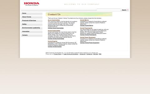Screenshot of Contact Page honda.com - American Honda - Contact Us - captured Sept. 18, 2014