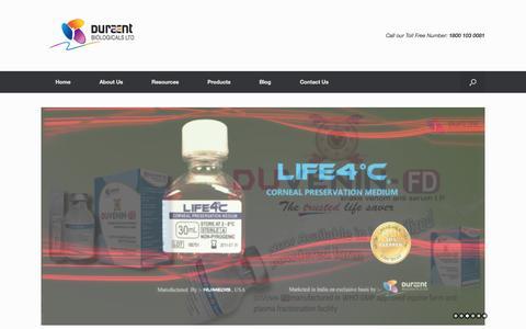 Screenshot of Home Page duraent.com - Home - Duraent Biologicals Ltd - captured Sept. 12, 2015