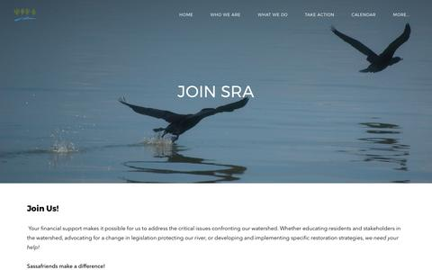 Screenshot of Signup Page sassafrasriver.org - join SRA - Sassafras River Association - captured Sept. 29, 2017