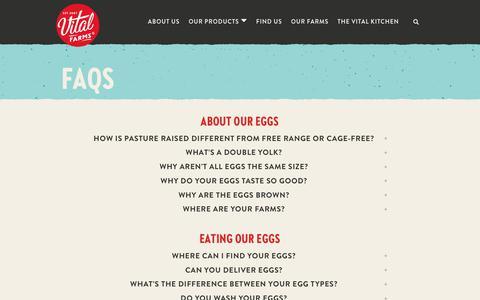 Screenshot of FAQ Page vitalfarms.com - Pasture Raised Eggs FAQ: Organic, GMO, Cage Free   Vital Farms - captured Nov. 7, 2019