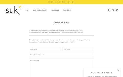 Screenshot of Contact Page sukiskincare.com - Contact Us – SukiSkincare - captured July 13, 2019