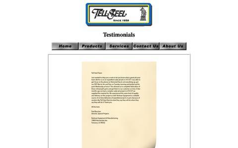 Screenshot of Testimonials Page tellsteel.com - Tell Steel Testimonials - captured Oct. 20, 2018