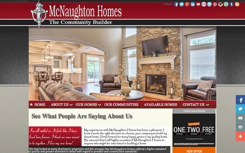 Screenshot of Testimonials Page mcnaughtonhomes.com - McNaughton Homes - captured Oct. 27, 2014