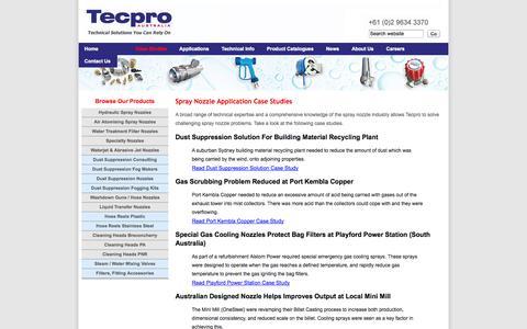 Screenshot of Case Studies Page tecpro.com.au - Spray Nozzle Application Case Studies - captured Oct. 7, 2014