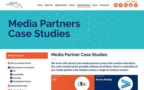 Screenshot of Case Studies Page creativeaccess.org.uk - Media Partner Case Studies   Creative Access - captured May 23, 2017