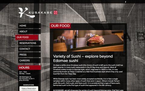 Screenshot of Menu Page kusakabe-sf.com - Our Food   Kusakabe - captured Nov. 2, 2014