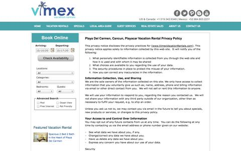 Screenshot of Privacy Page vimexvacationrentals.com - Playa Del Carmen Condo Vacation Rentals – Privacy Policy - captured Oct. 7, 2014