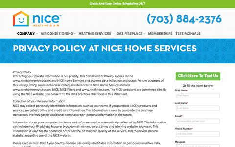 Screenshot of Privacy Page nicehomeservices.com - Privacy Policy at NICE Home Services - Nice Home Services - captured July 21, 2019